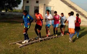 Players use bamboo ladder for speed and agility ladder